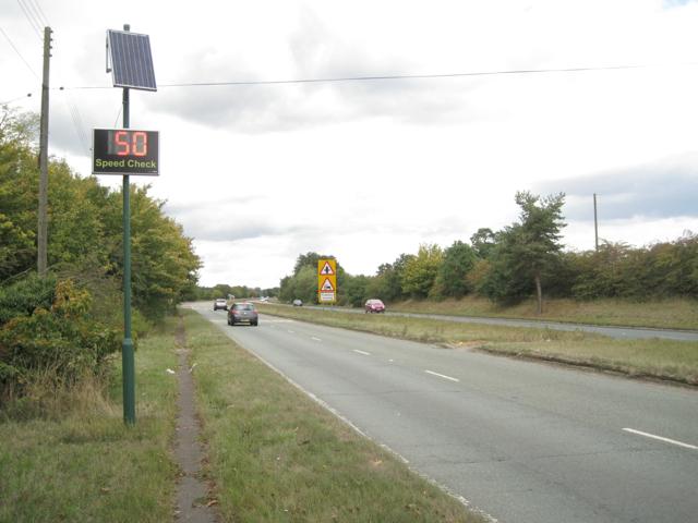 Speed check sign, A452 near Marsh Lane