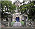 SJ8663 : St John's Church, Buglawton- Entrance gates by Jonathan Kington