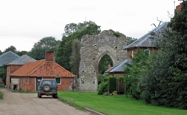 Remains of Butley Priory near Abbey Farm