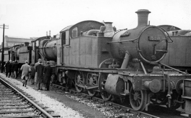 Swindon Works: a '4575' heads line-up locomotives awaiting scrap