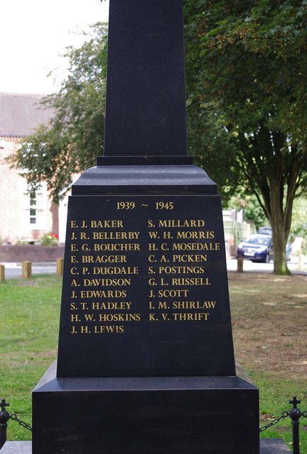 Inscription on new War Memorial - south side, High Street, Kinver