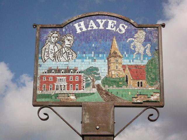 Hayes Village Sign Close-up