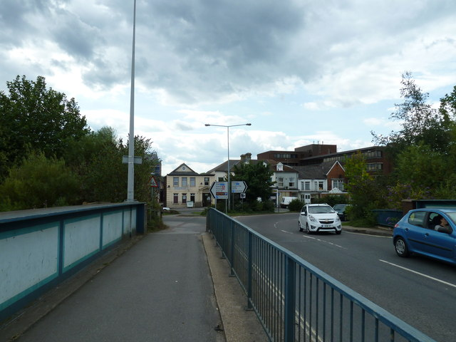 Crossing a railway bridge at the western end of the B3037