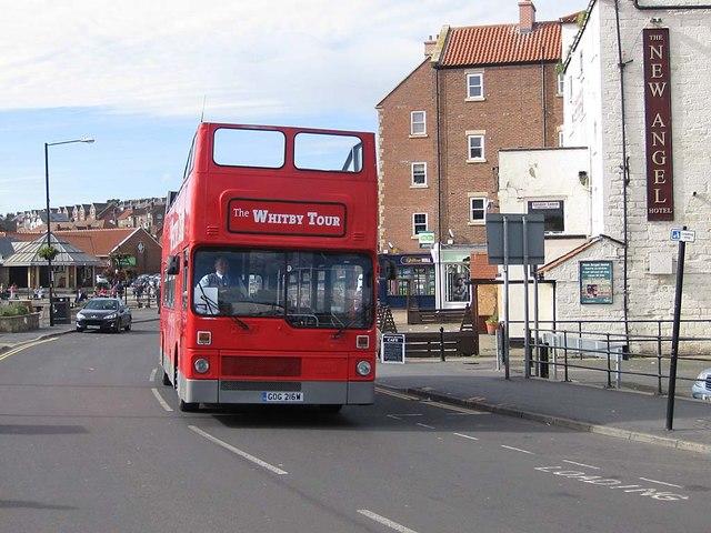 Open topped Whitby Tour bus