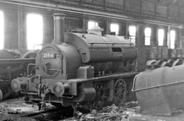 Swindon Works: diminutive 0-6-0 saddle-tank in scrapping-shed