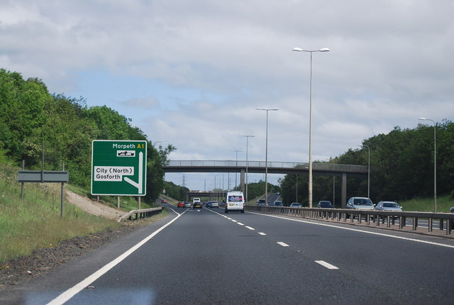 Footbridge over the A1, Fawdon