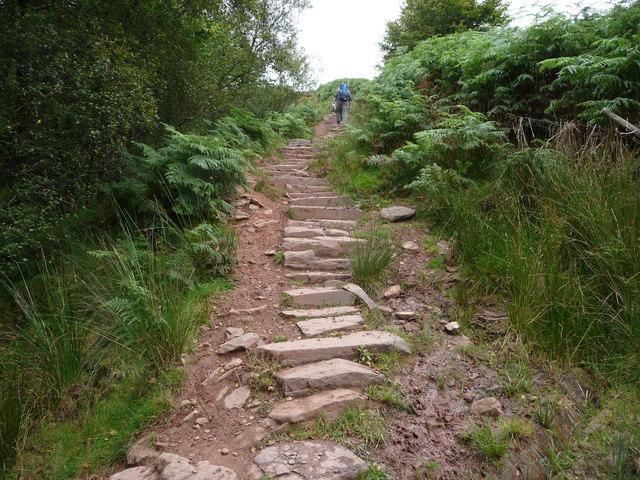 Climbing part of the Beacons Way below Craig y Fan Ddu