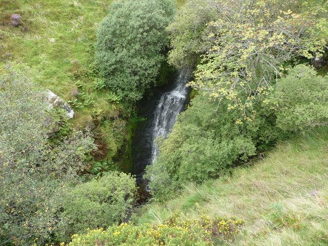 Waterfall beside the Beacons Way below Craig y Fan Ddu