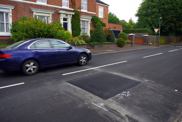 Speed cushion on Oakfield Road, Selly Park
