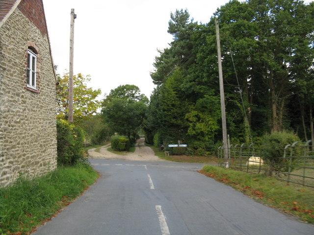Lane junction near Gorst Hill