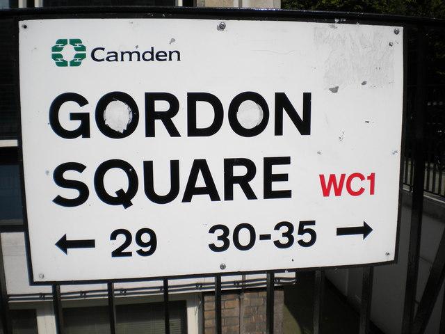Street sign, Gordon Square WC1