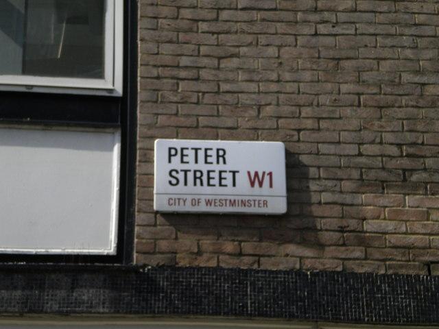 Street sign, Peter Street W1