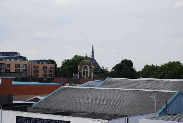 Church across the rooftops
