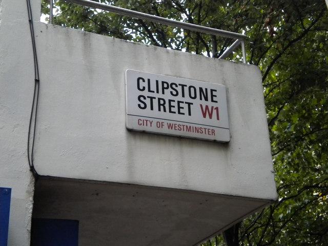 Street sign, Clipstone Street W1