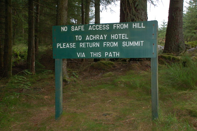 Warning notice, path to Ben Venue