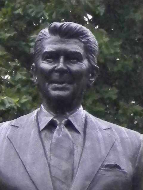 Detail, Ronald Reagan statue, Grosvenor Square W1