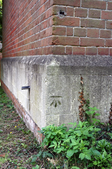 Benchmark on St Bartholomew's Church, off London Road