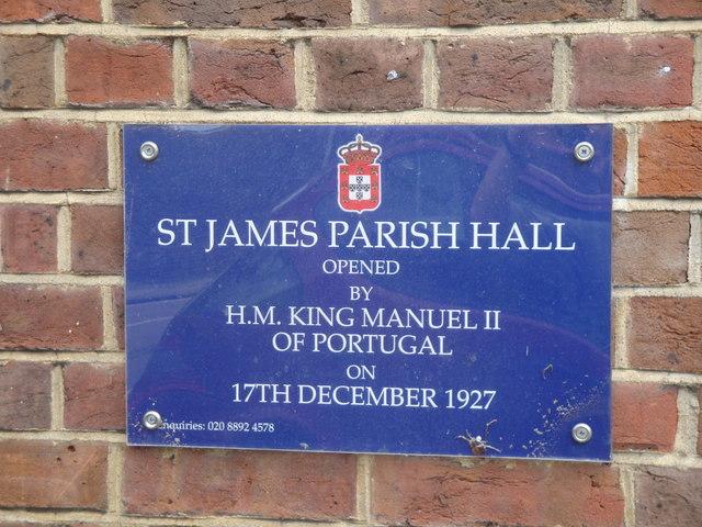 St James Church Hall - Commemorative Plaque