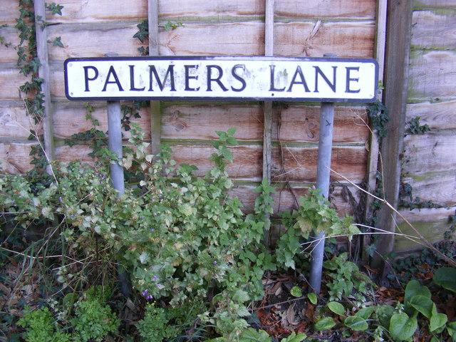 Palmers Lane sign