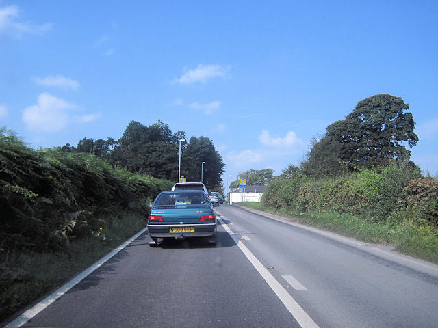 Road works queue on A458 at Llangadfan