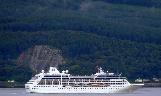 Ocean Princess passing Bullwood Quarry