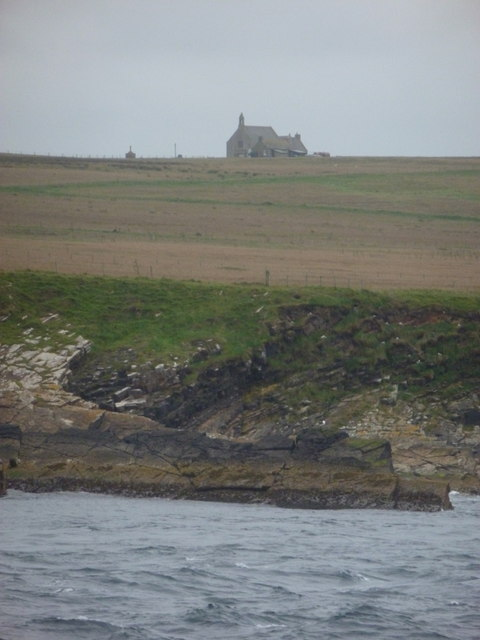 Stroma: the church from the passing ferry