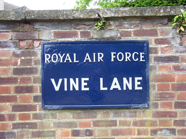 Royal Air Force Vine Lane sign