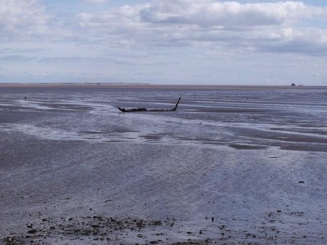 Shipwreck at low tide