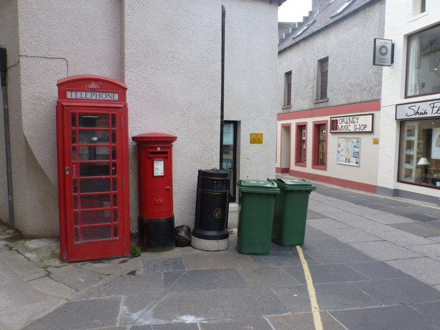 Kirkwall: postbox № KW15 21 and phone, Bridge Street