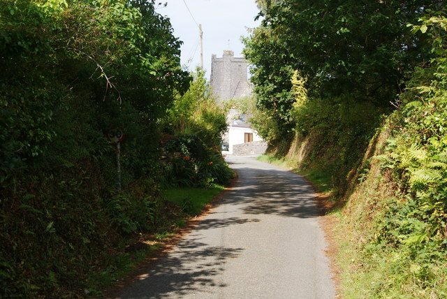 Lane approaching St Mary's Church, Newport