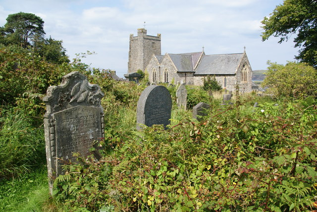 Overgrown churchyard of St Mary's, Newport