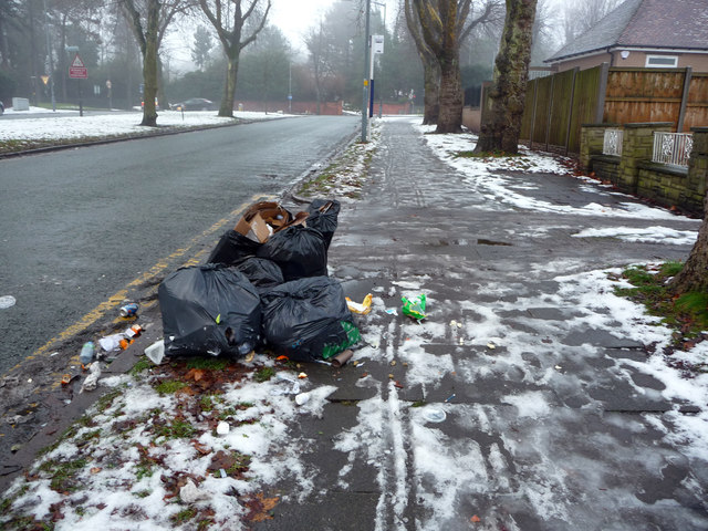 Bin bags awaiting collection on an icy Pebble Mill Road