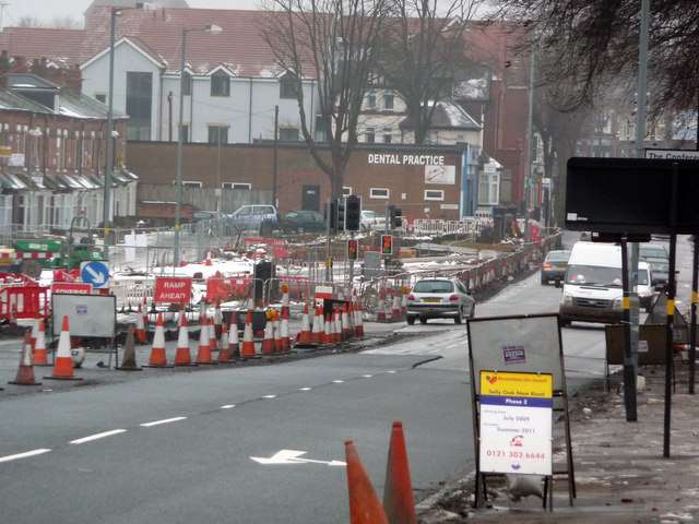 Roadworks on Bristol Road, Bournbrook