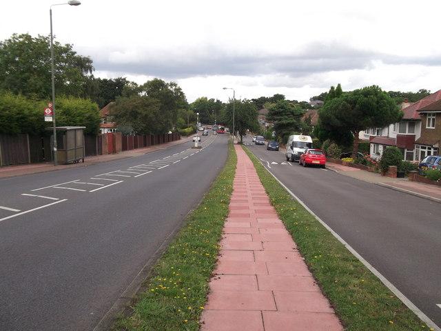 Following the pink path on Pickhurst Lane