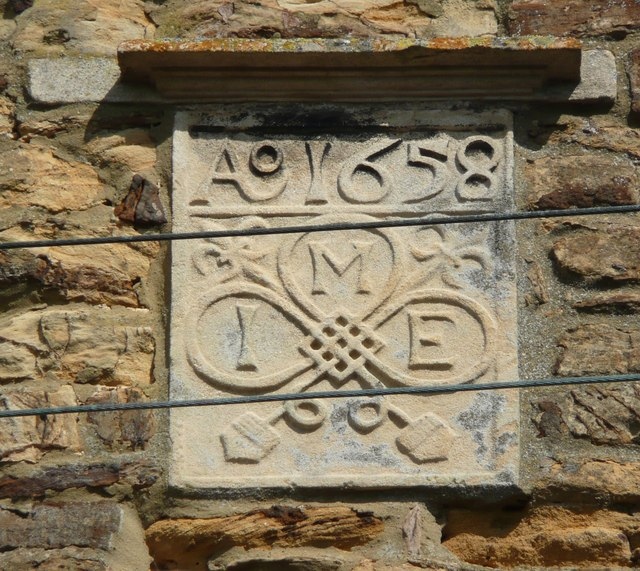 Datestone on a 17C house, Church Street, Moulton