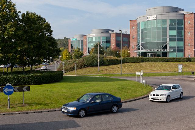Roundabout and offices on Stoney Croft Rise