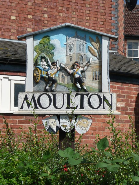 Village sign, High Street, Moulton