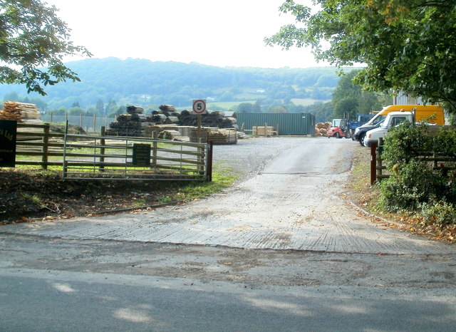 Entrance to Woodlands Services & Supplies Ltd north of Llantilio Pertholey