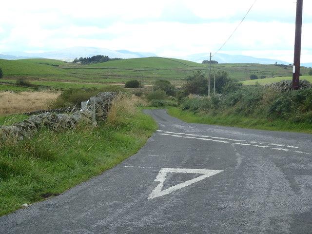 Minor road junction near Corse Farm