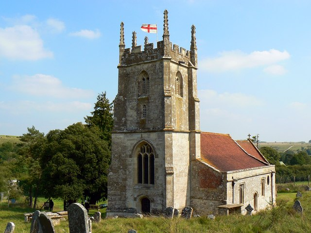 The tower and west end of St Giles' Church, Imber