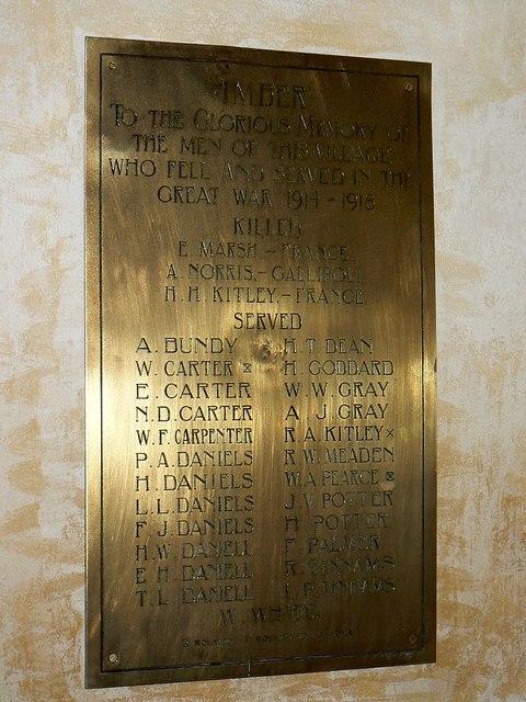 Memorial plaque inside St Giles' Church, Imber