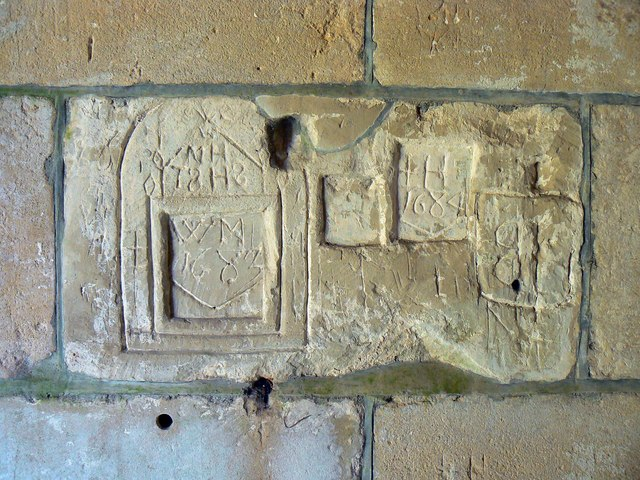 Old graffiti, St Giles' Church, Imber