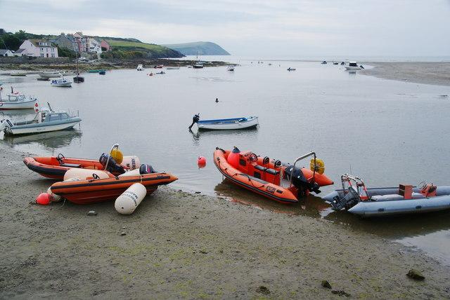 Boats moored on Afon Nyfer
