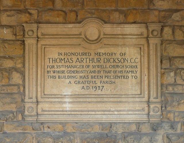 Memorial to Thomas Arthur Dickson on Sywell village hall