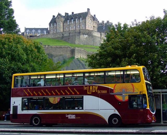 Princes Street, bus and castle