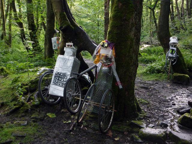 Wheeliebots - sculpture in Colden Clough