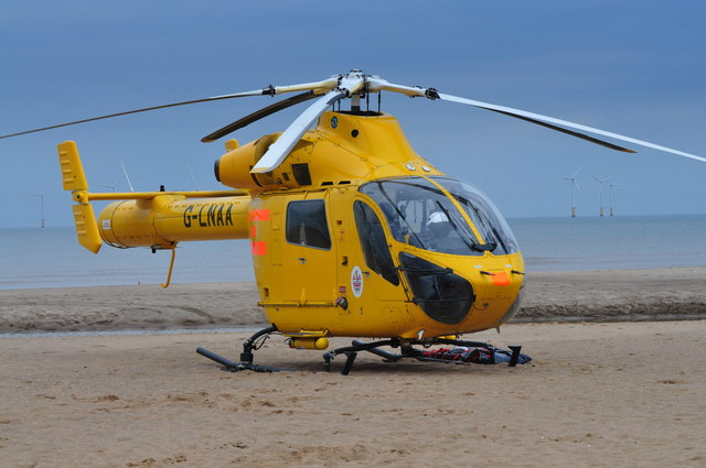 Funfair Accident Air Ambulance on Beach