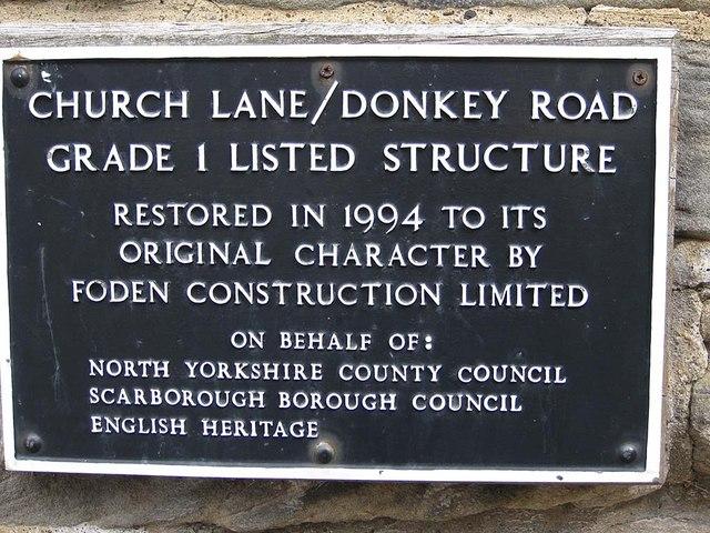 Plaque on Church Lane/Donkey Road