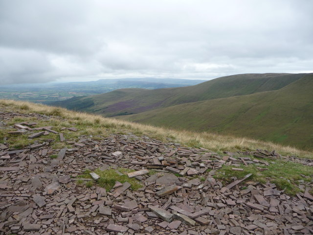 View to the distant Black Mountains from Fan y Big