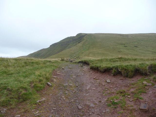 Path and stile at Bwlch ar y Fan